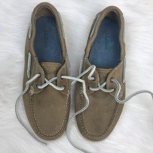 L.L.Bean Tan Lace Up Boat Shoes Size M 6 1/2